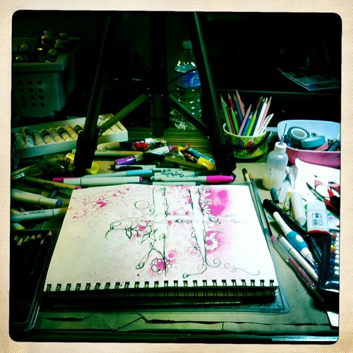 filming video and doodling on my studio table