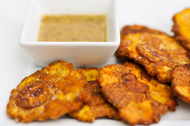 Tostones, Twice Fried Green Plantains, with Mojo Sauce Recipe :: The ...