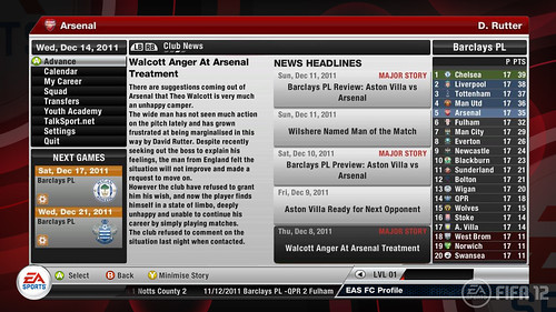 FIFA 12 Xbox: Career Mode Arsenal Inbox Offer Extended