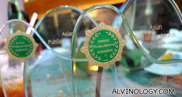 Close-up of the trophies