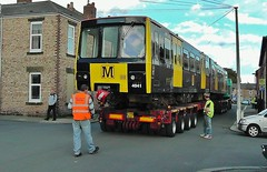Refurbished Tyne & Wear Metro Car No. 4041 Arriving at North Shields From Wabtec, Doncaster - 7th October 2011 (allan5819 (Allan McKever)) Tags: new uk england car train wagon metro rail railway commuter passenger lightrail tynewear refurbished livery lowloader wabtec 4041 dbregio
