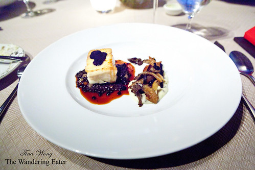 Off-menu course: Halibut with lentils, oyster mushrooms and shaved Perigord black truffle