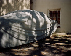 Covered car (Andrew Hefter) Tags: film car mediumformat georgia covered savannah 220 pentax6x7 kodakportra