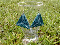Triangle earrings (double-face) (LaurArt84) Tags: thread cane silver crystal fimo copper swarov
