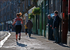 Keep fit! (csh 22) Tags: glasgow streetphotography smokers joggers saltmarket candidphotography keepfit glasgowstreetscene nikond90 glasgowstreetphotography