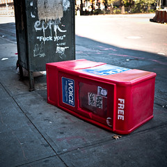 Free speech (sjmgarnier) Tags: road street nyc newyorkcity urban usa newyork mailbox graffiti october manhattan free objects voice sidewalk fuckyou bowery freedomofspeech redbox 4thstreet freespeech newspaperstand 5thstreet newspaperbox greenbox 2011 thevillagevoice knockeddown freenewspapers fkyou