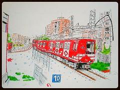"""Un 2000 (panda) en esquema """"leguina"""" ,hace su entrada en la estación de Aluche por el año 2001. (eldibu_transporte) Tags: madrid 2001 art subway de panda 2000 metro 10 año serie linea ilustración aluche leguina"""