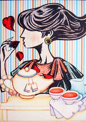 ATC798 - Eating her heart out (tengds) Tags: woman atc collage heart tea eating stripes multicolored papercraft handmadecard tengds