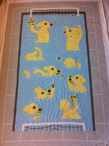 Waterpolo puppies quilt partially quilted