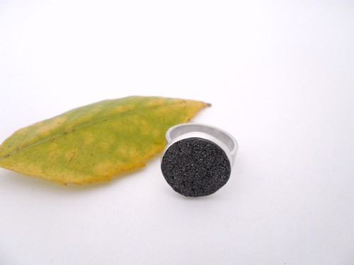 Black Druzy and Sterling Ring
