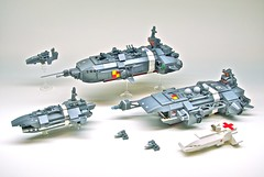 U.E.F. Expeditionary Strike Group - V2 (Dunechaser) Tags: lego space destroyer fighters cruiser carrier hospitalship gunboat microscale foitsop