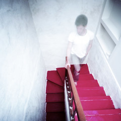 Up [stairs] (nik) Tags: red up stairs work climb ghost pinhole travail zero escaliers portra160nc rouges monter stnop lhaut