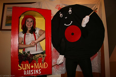 Sun-Maid Raisins and Friend Record (Larssa) Tags: autumn red people woman canada black halloween hat yellow vancouver dance costume julie box britishcolumbia vinyl raisins sean nostalgia grapes record bonnet spoons sunmaid 2011 canadiantelevision sizesmall friendrecord