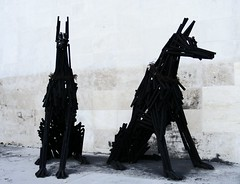 dogs (oana-emilia) Tags: wood bw sculpture art dogs monochrome hungary budapest doberman odc dualism ourdailychallenge