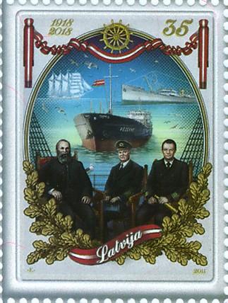 """Pastmarka """"Latvijas Republikai - 100"""", jūrniecība"""