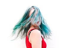 (evilibby) Tags: blue red green girl arm turquoise human libby 365 shoulder bluehair mybedroom greenhair 365days 3654 hairswish turquoisehair 365days4