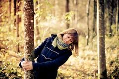 my beautiful girl (rhinozaur) Tags: autumn trees winter portrait woman playing girl forest scarf 50mm switzerland nikon bokeh 14 jacket leafs embracing bremgarten argovia d7000 fohlenweide