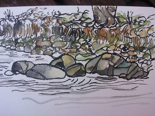 bobo creek rocks in ink with wash