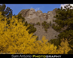 Monumental Times call for Monumental Action (Sam Antonio Photography) Tags: yellow southdakota blackhills landscape fallcolors landmarks bluesky autumncolors monuments georgewashington mtrushmore thomasjefferson theodoreroosevelt nationalmonuments presidentlincoln uspr
