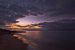 Whitefish Sunset (ETCphoto) Tags: sunset beach clouds waves michigan piers heavy lakesuperior whitefishpoint approaching 8163
