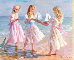 Konstantin Razumov  (born 1974) Russian artist -  Young girls at the beach with model sailboats (oldsailro) Tags: park old girls boy sea summer people sun lake playing beach water pool girl sunshine youth sailboat race vintage children fun toy born 1974 boat miniature wooden pond model artist waves sailing ship child with time yacht antique group young boom mat regatta hull sailboats he spectators russian watercraft adolescence konstantin keel fashioned razumov