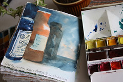 Vintage Glass Bottles - Watercolour (noriko.stardust) Tags: original colour art watercolor paper book sketch hand handmade journal sketching blogger page watercolour material kit marbled bookbinding binding imadeitmyself handbound crafted