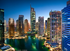 JLT HiDef (DanielKHC) Tags: blue sunset panorama lake digital buildings lights nikon long exposure dubai cityscape dusk towers uae indigo icon hdr jumeirah blending d300 jlt danielcheong danielkhc tokina1116mmf28