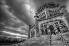 Cloudy Skies Baha'i (rseidel3) Tags: blackandwhite bw white black clouds photoshop temple march illinois nikon worship religion wideangle tokina northshore bahai wilmette 2012 lightroom 1116 d7000