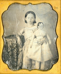 Girl With Large Doll Daguerreotype (Mirror Image Gallery) Tags: daguerreotype antiquedoll victorianchildren victoriantoy