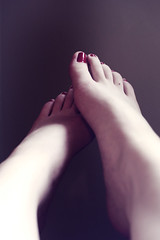 (skelseys) Tags: blue portrait woman feet girl self hair nose eyes long legs curly lip piercings medusa plugs gauges nostrils philtrum