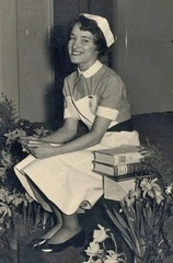 c1955, My sister, newly-qualified. (wonky knee) Tags: hospital manchester medal nurse prizewinner cheethamhill c1955 newlyqualified