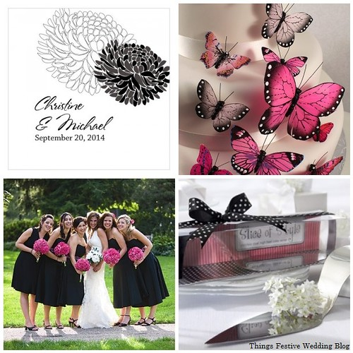 Shades Of Pink And Black Wedding Color Palette