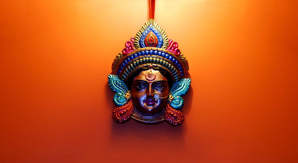A terracotta work of Goddess Durga