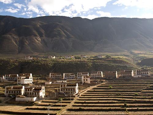 Tibetan houses + terraced fields