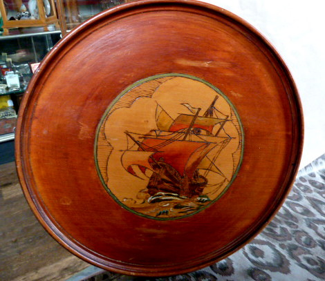 E892N Edwardian (1900 - 1910's) Poker work Galleon (Sailing ship) on Pine board
