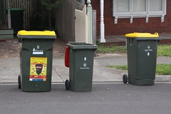 Wheelie bins: big, bigger and biggest (Marcus Wong from Geelong) Tags: australia melbourne victoria wheeliebin rubbishbin mooneevalley binnight rubbishday