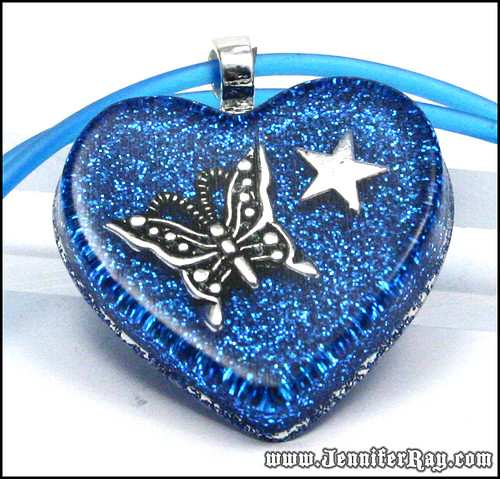 Butterfly Star Pendant - Blue Glitter with Silver Butterfly and Star Resin Heart Necklace by JenniferRay.com