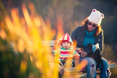 Fall Day at The Park (iFlook) Tags: autumn wisconsin madison indianlake goldenlight momanddaughter londa effy nikkorp105mm
