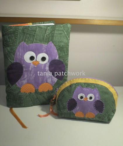 Capa de caderno ou agenda + mini necessaire Coruja by tania patchwork