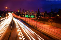 Amethyst Evenings & Sapphire Nights in the Emerald City (TIA International Photography) Tags: seattle city blue light sky skyline tia lights evening washington highway long exposure downtown cityscape purple motorway state pacific northwest