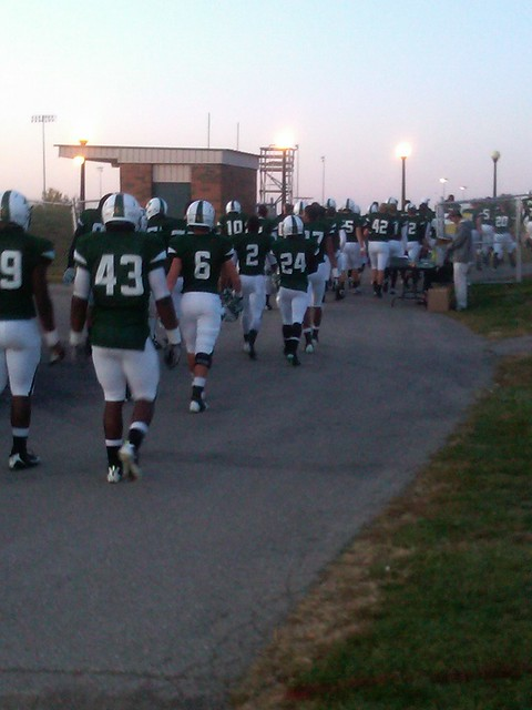 Rock Bridge players heading off the field back to the locker room