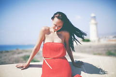 * (Anna Psareva) Tags: sea lighthouse me girl canon coast cyprus reddress  markii selfie phafos