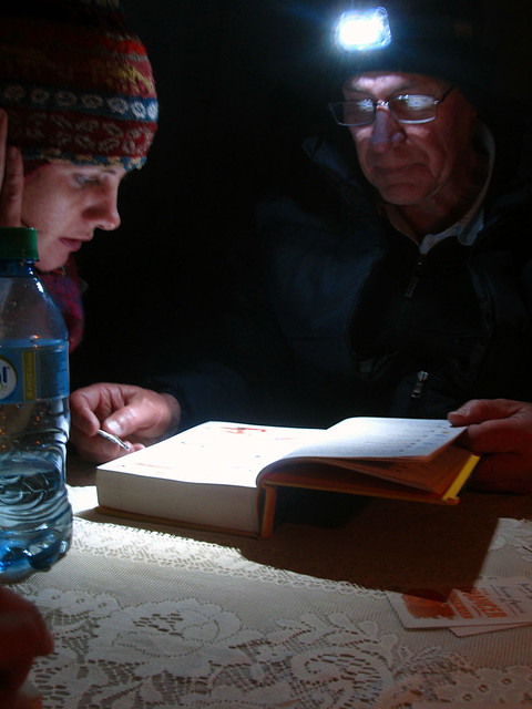 Laura and her father, reading