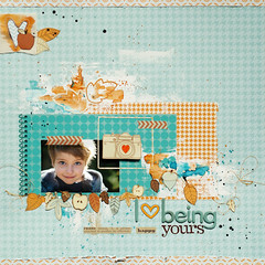 I  being yours! (ania-maria) Tags: blue autumn orange fall leaves scrapbooking child lift son yours scrap challenge ils autumne ilowescrap aniamaria ilovepattern