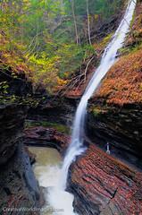 Rainbow Falls (Larry Mandelker) Tags: autumn fall creek seasons fallcolor glen fallfoliage waterfalls rivers newyorkstate fingerlakes cascade hdr highdynamicrange watkinsglen autumncolor watkinsglenstatepark naturalplaces
