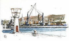 Mlaga, view from fishing dock (Luis_Ruiz) Tags: urban panorama port puerto sketch spain view harbour crane drawing panoramic vista andalusia dibujo malaga mlaga sketchers gra