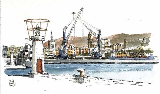 Málaga, view from fishing dock