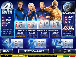 free Fantastic Four 50 Lines slot mini symbol