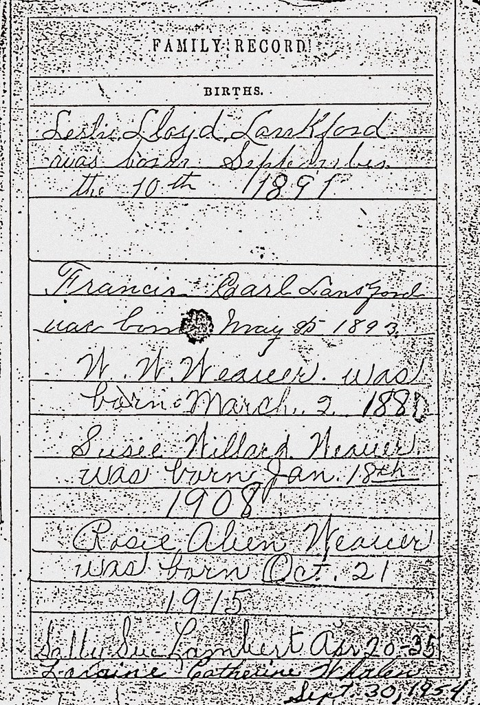 James A Lankford Family Bible Page Four