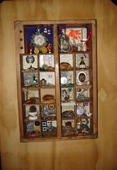 Silas and Elizabeth (RDaleB) Tags: shells art glass stone beads key box assemblage ephemera seeds chain foundobjects brass twine burlap woodbox